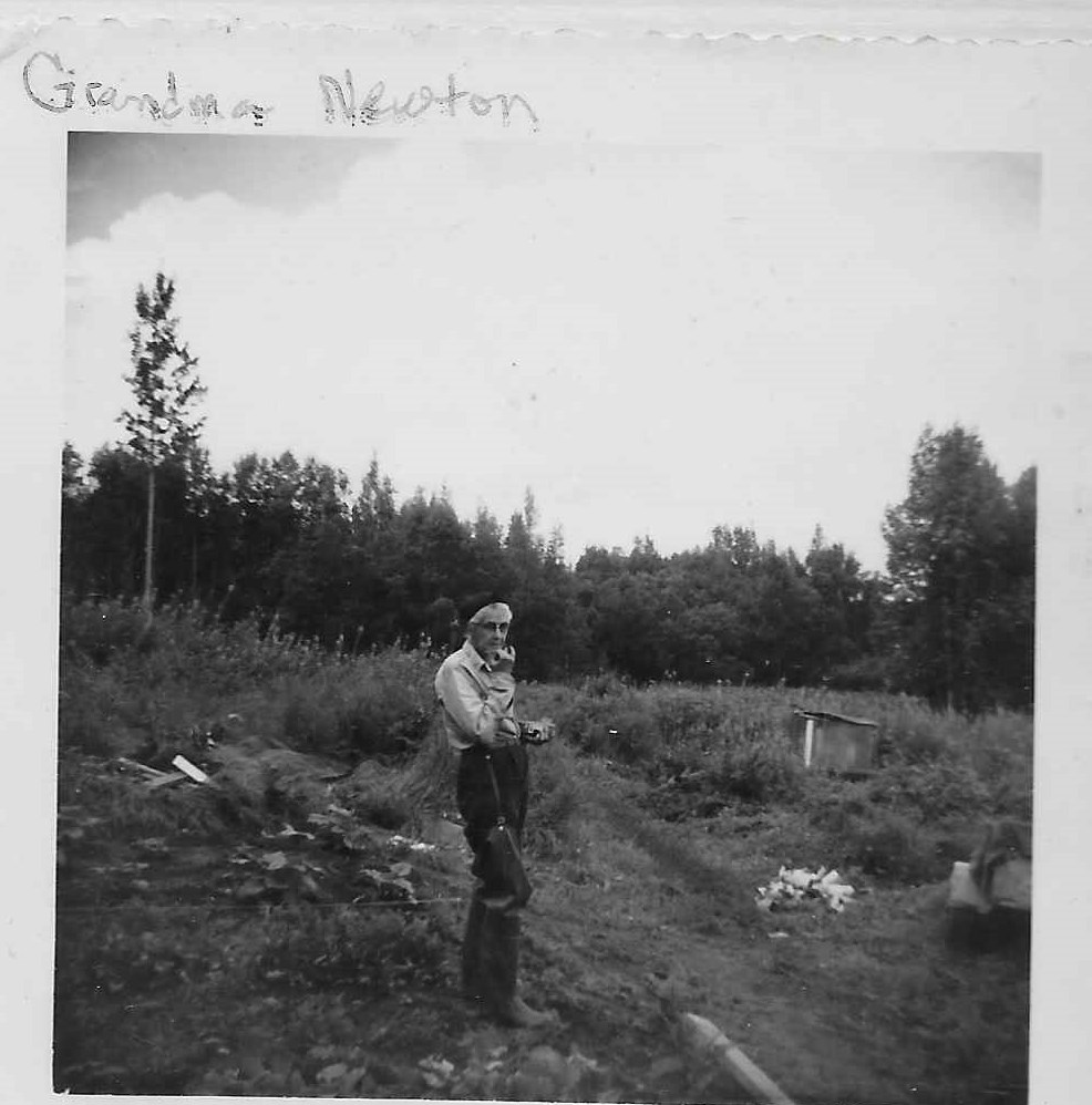Granny Newton on the trail at Susitna Station - photo from the Lydic Collection