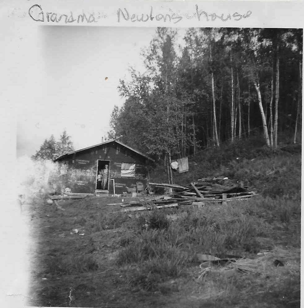 Granny with Darlene in front of her cabin - photo from the Lydic Collection
